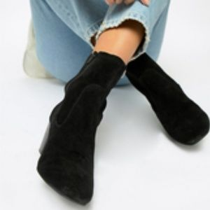 Shoes - New Black Suede Sock Boots Booties Festival 8.5